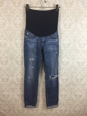 AG Adriano Goldschmied Maternity Jeans Sz 26 Distressed Skinny Ankle