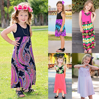 af9d4c357af69 TODDLER KIDS BABY Girls Floral Summer Dress Beach Holiday Long Casual  Dresses