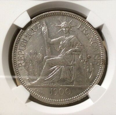 1900 A French Indo China One Piastre NGC AU DETAILS CLEANED - Silver