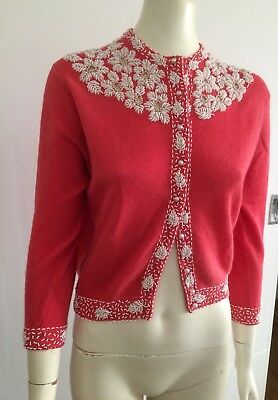 Original Vintage 50s 60s White beaded Cardigan , Sweater  , Pinup Rockabilly