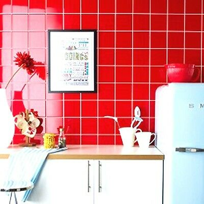 Mosaic Tiles, Red 100x100, Bathroom, Kitchen Splashback, Feature Wall
