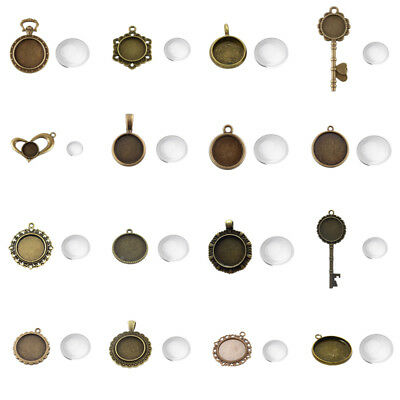 Antique Bronze Tibetan Alloy Pendant Setting Base Bezels & Round Glass Covers