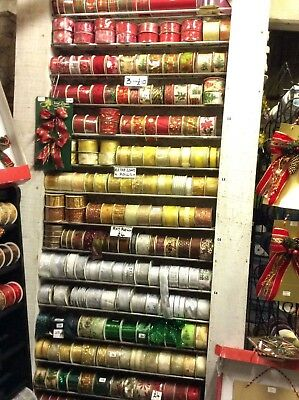 """25 Rolls Job-Lot Christmas Ribbons """"Choose From Photos"""" Wired Gifts Crafts"""
