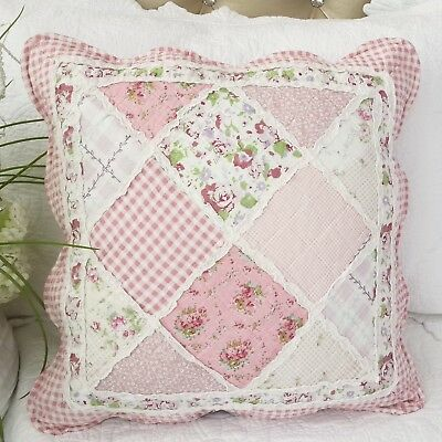 Shabby Chic Whisper Floral Patchwork Square Cushion Cover with Ruffle Trims