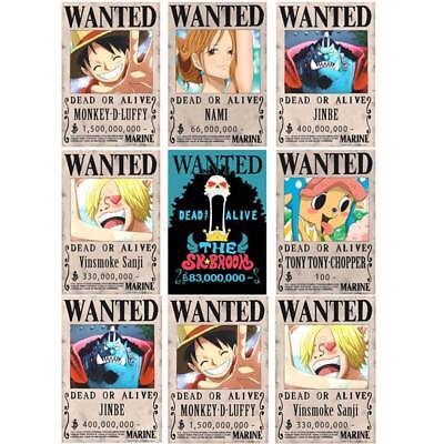 12pcs/Set One Piece Anime Poster Straw Hat Pirates Shanks Ace Wanted Poster