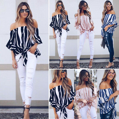 c87eeffe0b97 Women s Striped Bandage Off Shoulder Tops Blouse Ladies Casual Clothes US  Stock