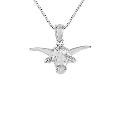 """Sterling Silver STEER BULL HEAD Pendant / Charm, Made in USA, 18"""" Box Chain"""