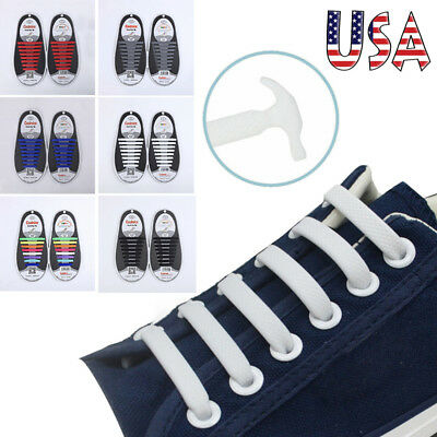 COOLNICE Elastic Silicone No Tie 'Lazy' Shoe Laces Shoelaces   Trainers Shoes