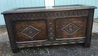 Small Old English Carved Oak Coffer Ottoman Blanket Box Toy Box