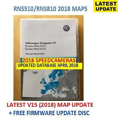 RNS510 2018 V15 RNS810 MAP VW SKODA SEAT West Europe + 5238 Update CD +SPEEDCAMS