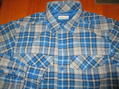 Near New Columbia Omnishade Mens Quality  Blue Check  Cool Shirt Sm- Med