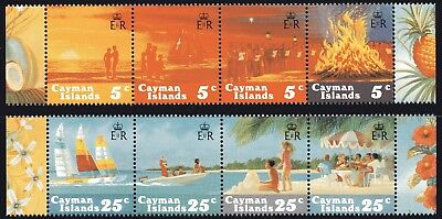 Cayman Islands 1984 Christmas 2 x strips of 4 Mint Unhinged