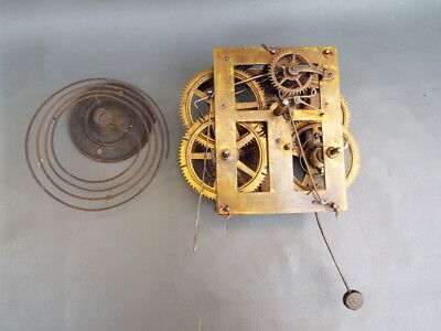 Vintage American clock movement and gong - repair or spares