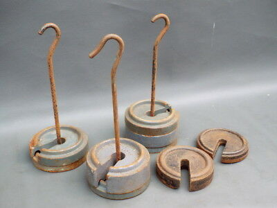 Job lot of 6 cast iron platform stacking scale weights and 3 hooked hangers