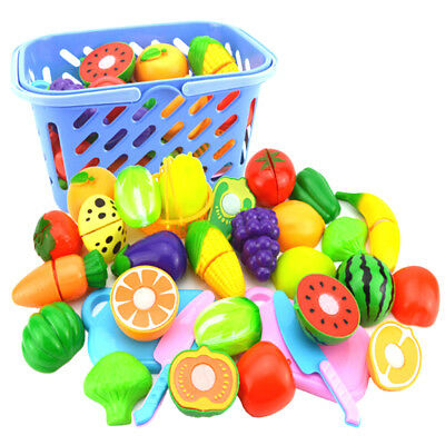 Play House Toy Cut Fruit Plastic Vegetable Kitchen Classic Kid Educational Toy .