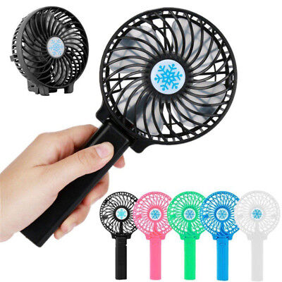 Rechargeable USB Fan Air Cooler Mini Operated Hand Held Protable No Battery *
