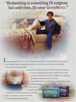1994 print ad - GOODNITES KIDS DIAPERS - First American Ad - Little Boy - 1 page
