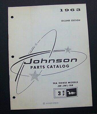 1963 Johnson Motors PARTS CATALOG #379267 SEA HORSE MODELS JW - JWL - 18R
