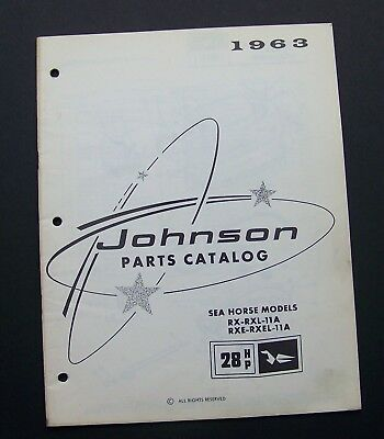 1963 Johnson Motors PARTS CATALOG 379271 SEA HORSE MODELS RX-RXL-11ARXE-RXEL-11A