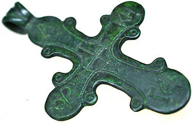 Double Sided Byzantine Bronze Christian Cross Pendant
