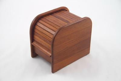 Vintage MCM Small Teak Tambour Roll Top Storage Box Floppy Disc Desk Organizer