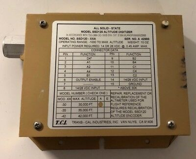 Trans Cal Ssd120-30a Soild State Altitude Encoder Used