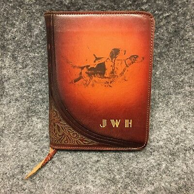 Vintage Brown & Bigelow Leather Bridge Cards Carrying Case w/ Irish Setters EXC