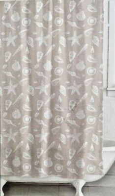 Nautical Fabric Shower Curtain And 12 Shell Hooks Beach House