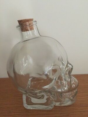 Skull Glass Jar Decanter With Cork Stopper Great For Halloween 380ml