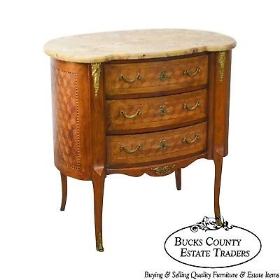 Louis XV Antique Kidney Shape Marble Top Bronze Mount 3 Drawer Commode Chest