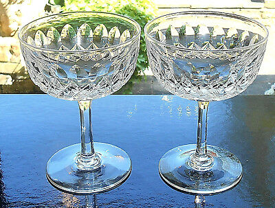 TWO ANTIQUE VINTAGE CUT CRYSTAL CHAMPAGNE GLASSES c.1930