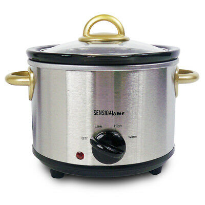 Slow Cooker 1.5 Litre Stainless Steel Electric Ceramic Crock Pot Removable Inner