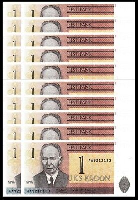 Estonia 1 Kroon 1992 Unc 20 Pcs Consecutive Lot P-69A Prefix -Aa-