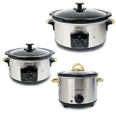Stainless Steel Slow Cooker Electric 1.5L 3.5L 5.5L Ceramic Crock Pot Removable