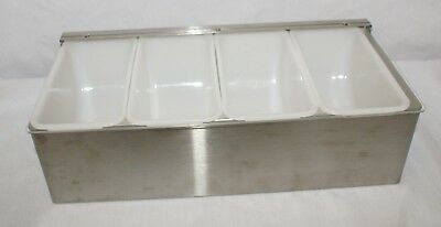 4 Section Food Service Condiment Server Stainless Steel and Plastic Lidded