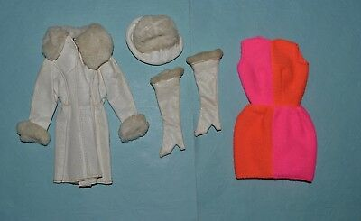 Vintage Barbie - Mod 1969 Red White 'N Warm #1491, Coat, Hat, Dress, Boots