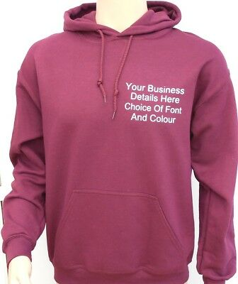 New Custom Printed Text Personalised PULL OVER HOODIE Quality Work Wear Uniform