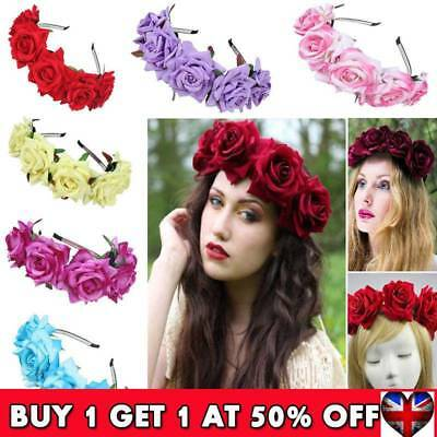 Girl Floral Crown Rose Flower Headband Hairband Wedding Hair Garland Headpiece U