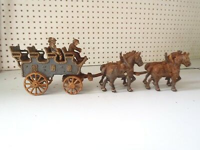 Vintage Cast Iron Horse Drawn Open Air Stage Coach