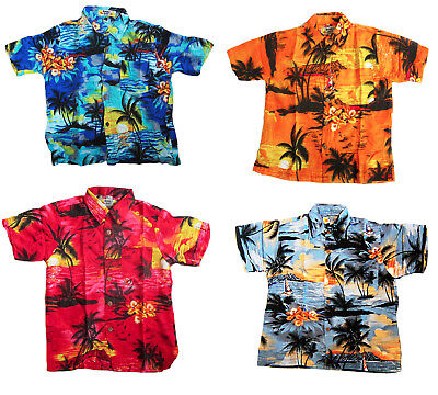BOY'S LOUD HAWAIIAN SHIRT: PALMS AND SUNSETS/ HIBISCUS summer holiday party new