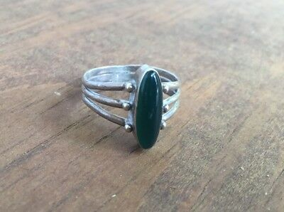 Vtg 3 Strand Sterling Silver Art Deco Ring With Green Glass Oval, Sz 8