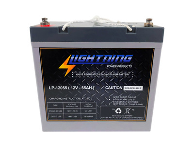LIGHTNING 12 Volt 55Ah Deep Cycle AGM Auxiliary Battery (LP-12075)