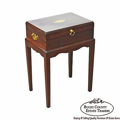 Madison Square Stickley Federal Style Mahogany Inlaid Silver Chest on Chest