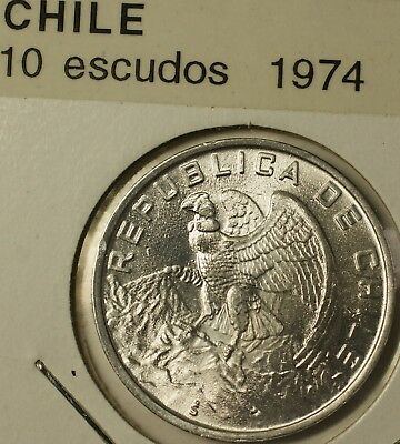 1974 Chile 10 Escudos Brilliant Uncirculated Aluminum Condor Coin