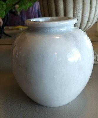 Hand Carved solid white MARBLE vase NEW