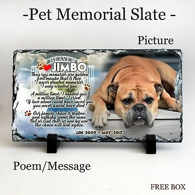 Personalised Custom Pet Dog Photo Memorial Slate Memorial Plaque - Poem,Picture