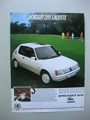 Peugeot 205 Lacoste single sheet  brochure depliant Prospekt 1986