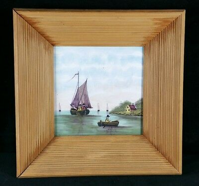 Antique Or Vintage Hand Painted Polychrome Tile In Frame 9.5x9.5x2.2 Maybe Dutch