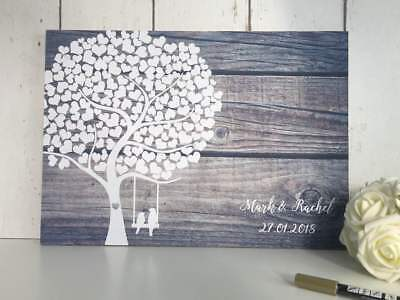 Wedding Guest Book Alternative Guestbook Rustic Tree Guest Board Wood Effect