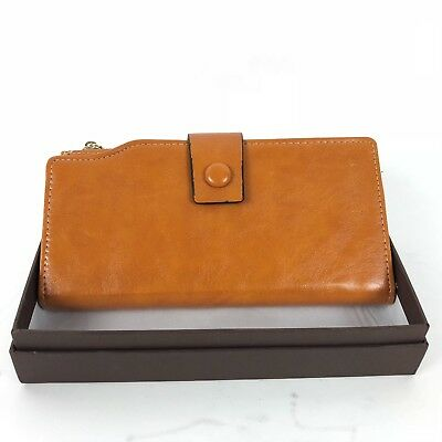 i2Crazy Women's Light Brown Leather RIFD Blocking Classic Clutch Wallet